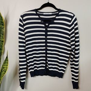 • CABI • navy & white striped button up cardigan